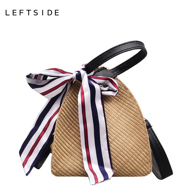 LEFTSIDE Women Straw Bag Triangle Shaped Crossbody Handbag Summer Mini Shoulder Messenger Rattan Bags Beach Bag With Ribbons cylinder shaped mini crossbody bag