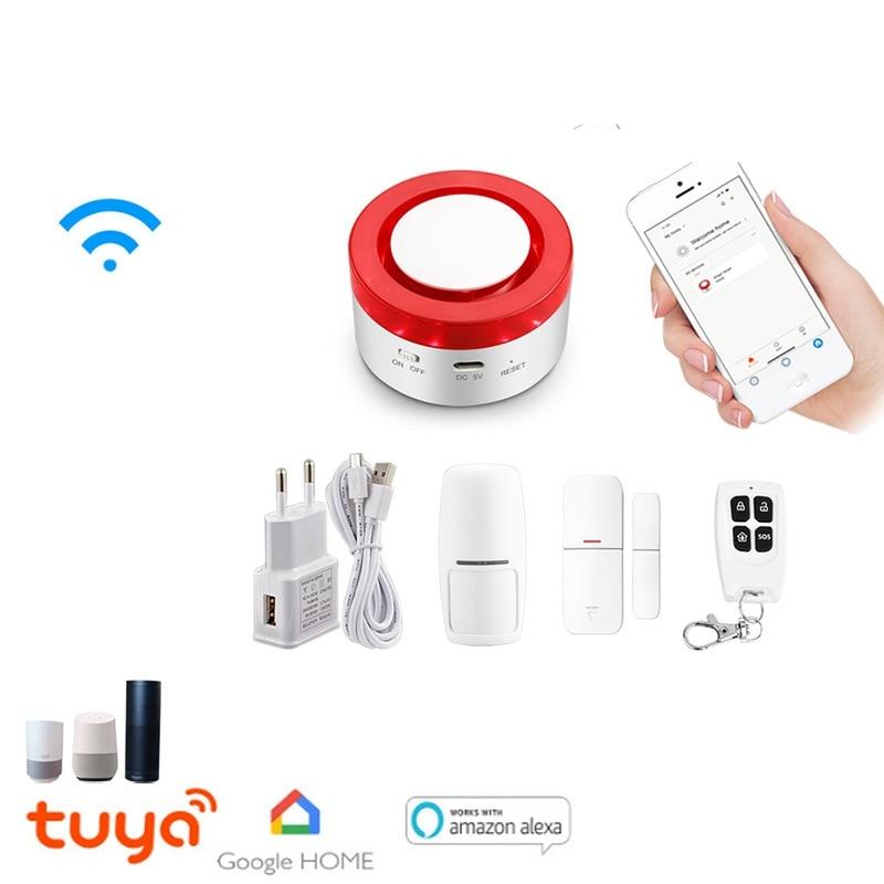 Smart WiFi Home Security Alarm System WiFi Siren Alarm Compatible with Alexa Google Home IFTTT Strobe Siren