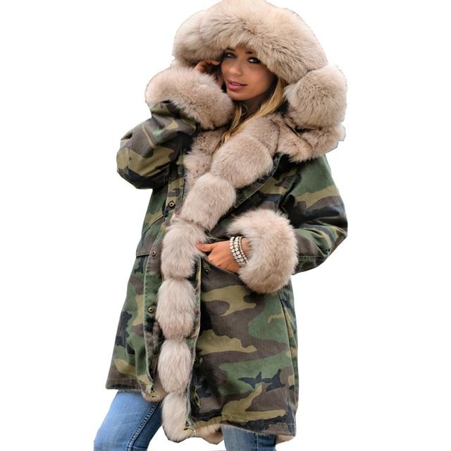 1123b71a4d4 Roiii 2018 Cotton Long Parka Hood Jacket Thicken Camouflage Military Beige Faux  Fur Print Winter Outwear Female Jacket Warm Coat