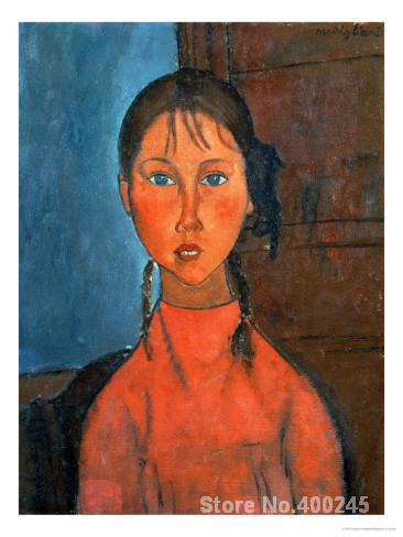 Christmas Gift art on Canvas Girl with Pigtails circa by Amedeo Modigliani Painting High Quality Handmade