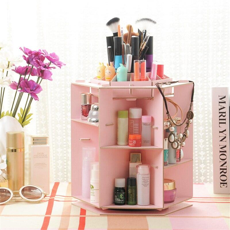 DIY Rotating Cosmetic Storage Box Wood Board Candy Desktop ...