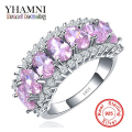 Hot Fashion S925 Stamp Original Silver Ring for Women Luxury Pink Cubic Zircon New Trendy Jewelry Engagement Ring YR010