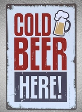 1 piece Cold Beer Sold Here Bar Tin Plate Sign wall Room man cave Decoration Art Dropshipping Poster metal