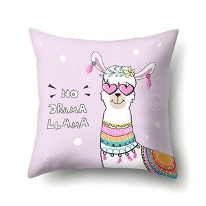 Image 4 - 45Cm 만화 알파카 라마 커버 의자 소파 베개 케이스 베이비 샤워 웨딩 파티 용품 생일 파티 장식