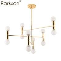12 главы Nordic современные золото светодиодный подвесные светильники столовая hanglampen E27 светодиодный светильник замок Edison лампочка висит ламп