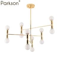 12 heads Nordic Modern Gold LED Pendant Lights dinning room hanglampen E27 LED Lamp Castle Edison Light Bulb hanging lamp