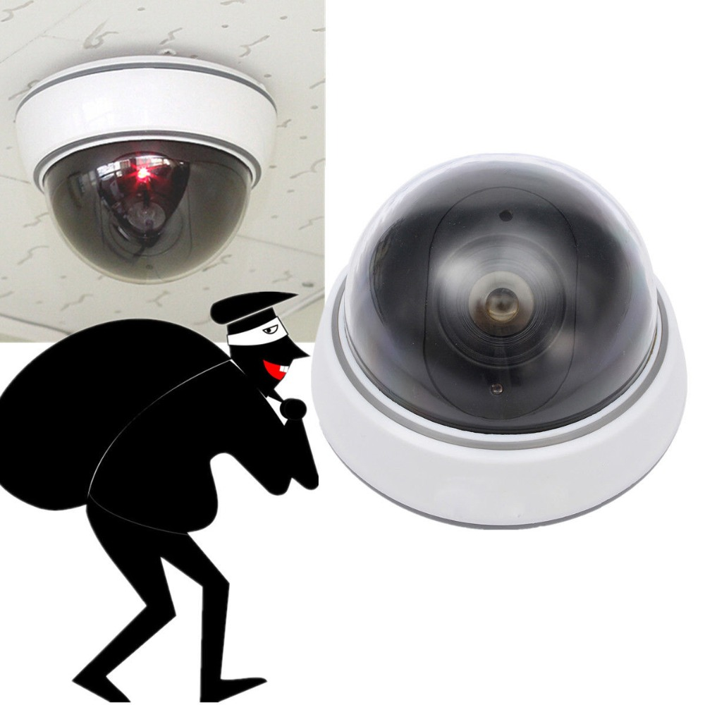 Home Safe Surveillance Camera Flashing LED Light Dummy Dome CCTV Security White