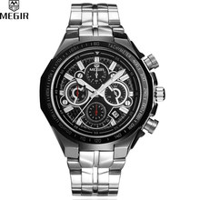 MEGIR Famous Brand Sport Watch Men Accurate Travel Time Chronograph Silver Dial Stainless Steel Band Men