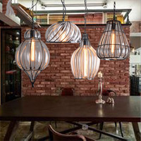 SGROW Американский винтажный стеклянный абажур подвесной светильник столовая Бар Кафе подвесной светильник железная клетка арт освещение св