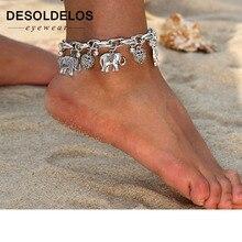 Tobilleras de plata y oro Vintage para mujer, colgante de elefante, dijes, cadena de playa, verano, tobillo, pulsera de joyería al por mayor