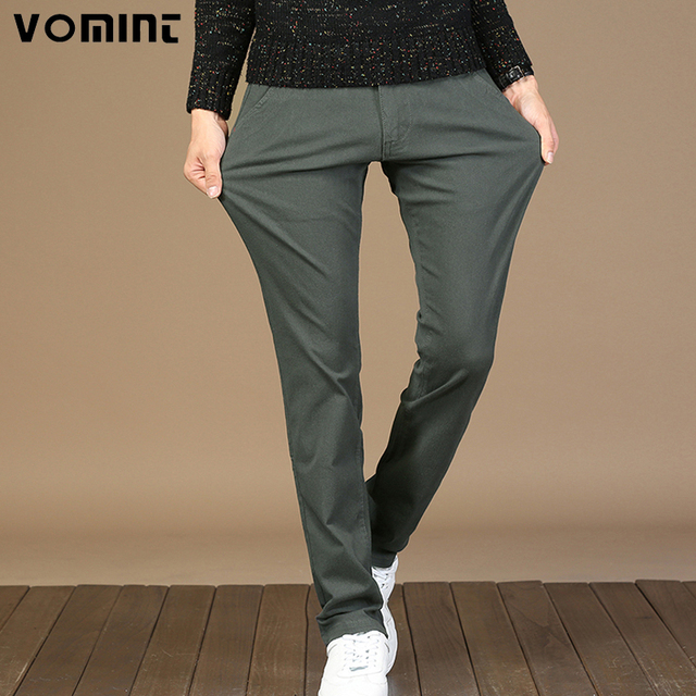 VOMINT Men's Casual Pants Trousers Slim Straight Spandex Fabric Basic Pants Male Fashion Big Size 44 46