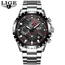 LIGE Men Watches Top Brand Luxury Quartz Watch Men Fashion Dress Watch Waterproof Sport Wristwatch Male Clock Relojes Hombre funique fashion business men watch leather mesh man dress quartz watch casual male relojes hombre feminino simple wristwatch
