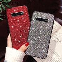 Per Samsung Galaxy S8 S9 S10 Più Il Caso di Lusso di Bling di Scintillio TPU Morbido Silicone Coque Per Samsung Nota 8 9 rhinestone della Parte Posteriore della Copertura