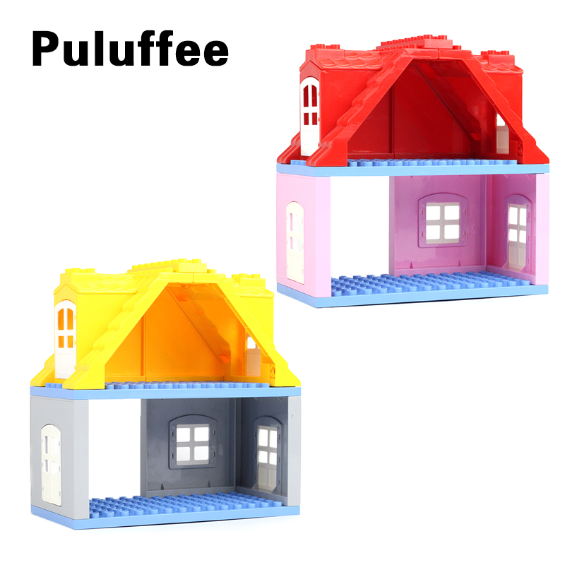 Big House DIY Bricks set Compatible With Duplo Roof Wall Window Building Blocks Educational Toys For Kid Gifts цена 2017