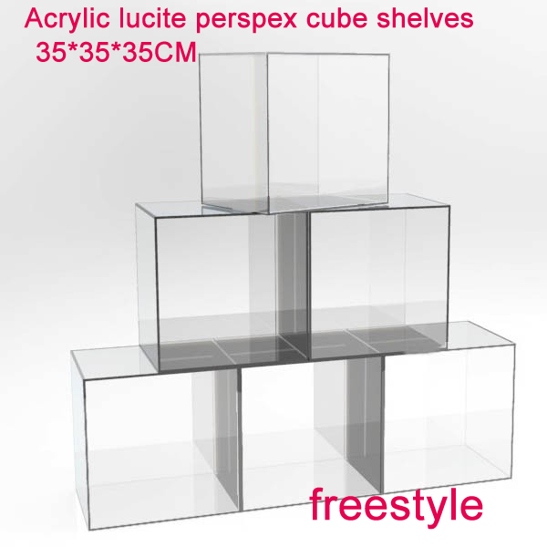 Us 295 0 Diy Freestyle Crystal Acrylic Lucite Perspex Cube Shelves 35 Cm Cube Cabinets 5 Sided In Storage Holders Racks From Home Garden On