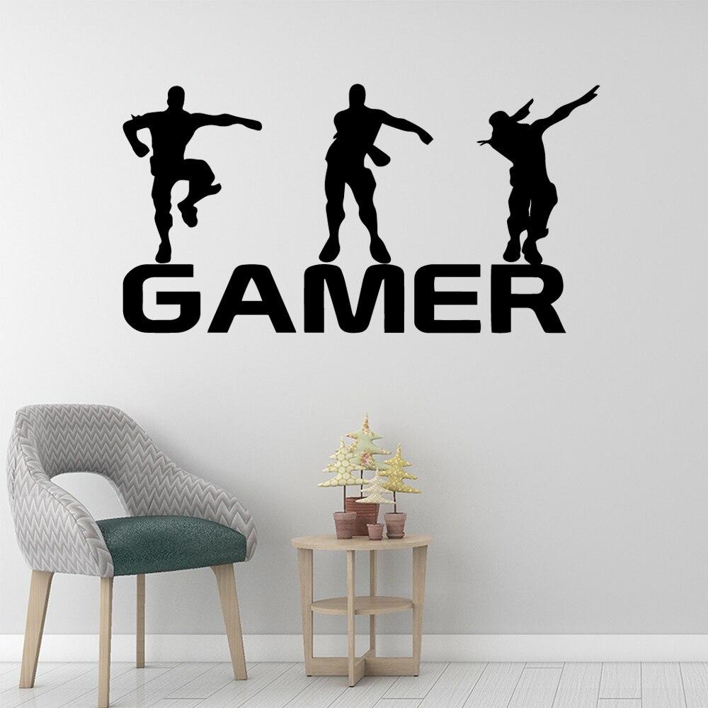 Gamer vinyle Sticker Mural pour enfants chambres décoration décalcomanie affiche garçons jeu PS4 bataille Royale Xbox jeu autocollants Mural papier peint