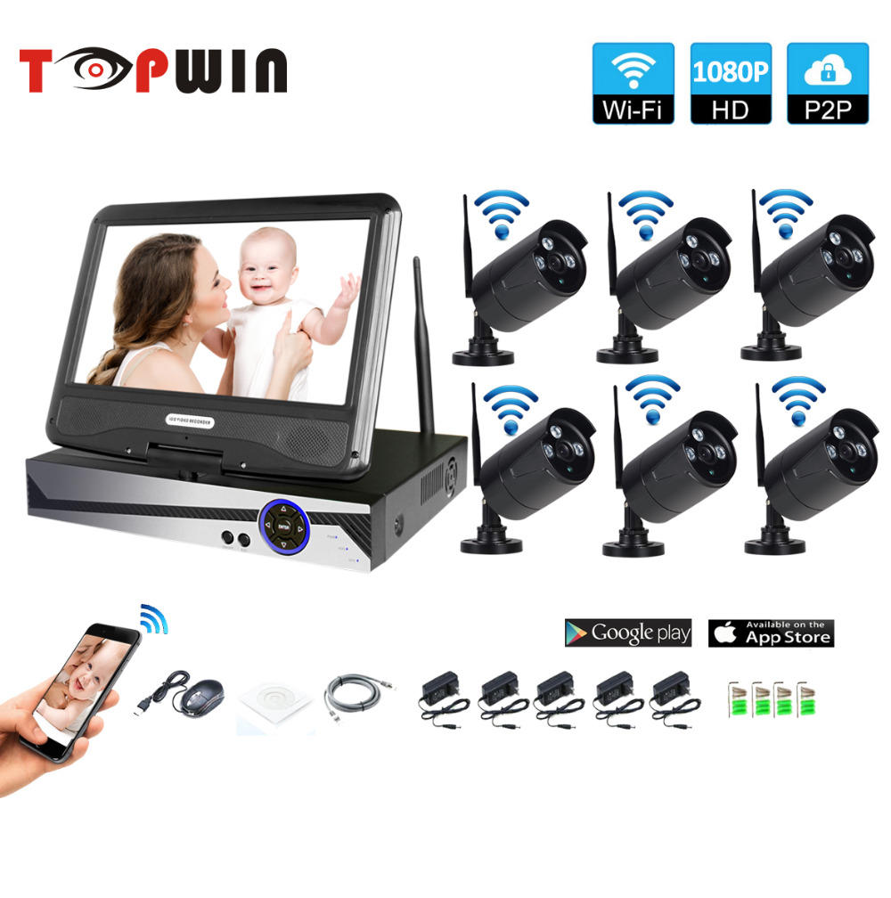 Wireless Surveillance System Network 10.1 LCD Monitor NVR Recorder Wifi Kit 6CH 1080P HD Video Inputs 6PS 2.0MP Security Camera