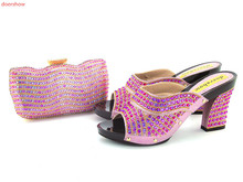 doershow FREE SHIPPING Italian Shoes and Matching Bag High Quality For party wedding Italy Shoes And