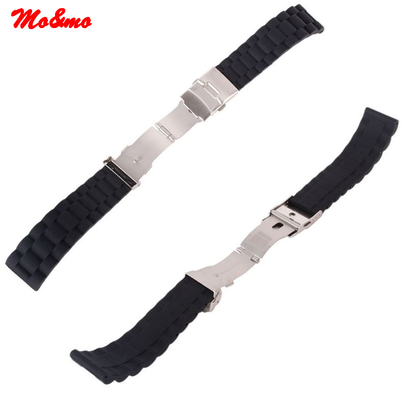 16/18/20/22/24mm Automatic Double Click Butterfly Buckle Watch Automatic Push Button Fold Deployment Clasp Strap Bucklen free shipping new butterfly deployment watch bands double push button fold strap buckle clasp