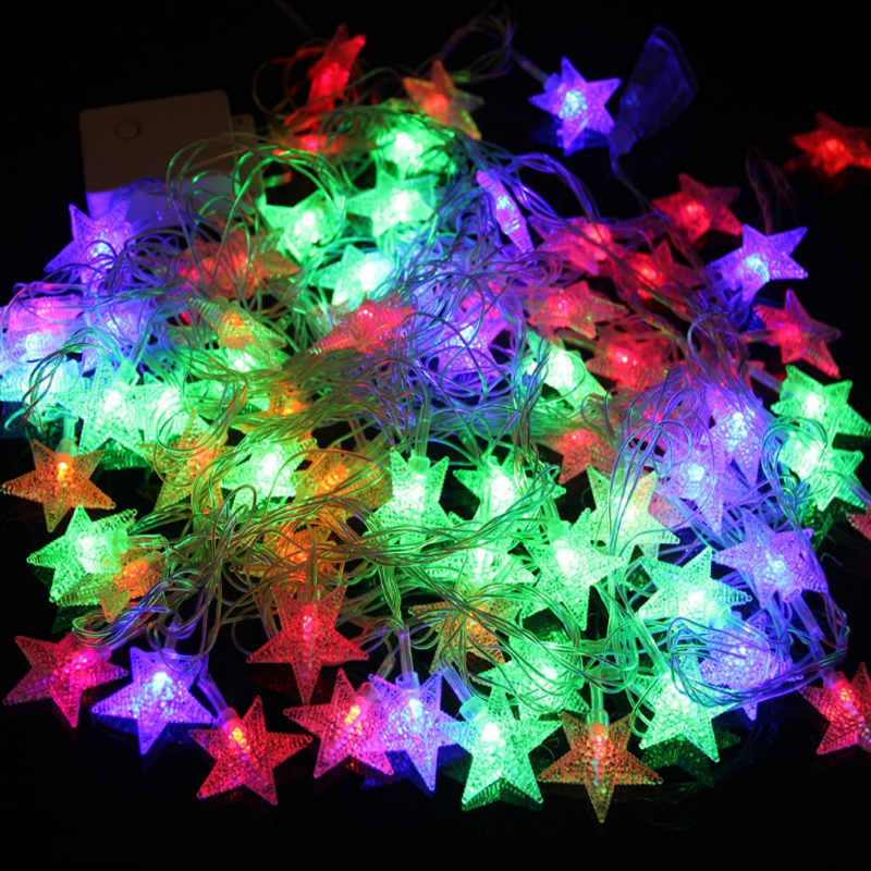 Led Light String Colorful Stars Christmas Decoration For Home Outdoor Christmas Tree Ball House Garden Decoration 220 110v 7 9m