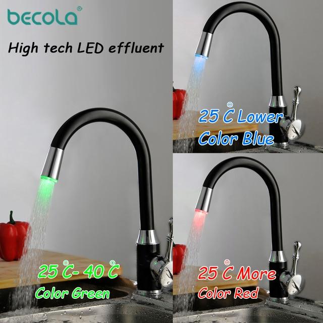 Becola Led Küche Wasserhahn Schwarz Mischbatterie Messing