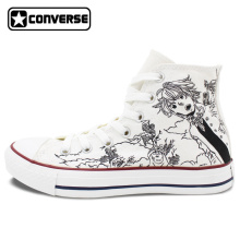 Men Women Converse All Star White Anime Shoes Seven Deadly Sins Design Custom Hand Painted Shoes High Top Man Woman Sneakers