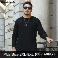 Big Men Sweaters Thick Casual Mens Plus Size Sweater Jacquard Large Sizes Men S Round Neck