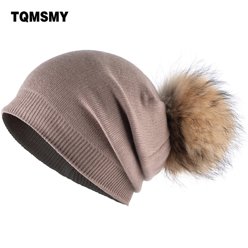 TQMSMY 2017 Real raccoon fur ball cap pom poms winter hat for women rabbit knitted beanies cap hat skullies female cap TMC24 lanxxy winter real fur ball beanie hat for women fluffy raccoon fur pom poms skullies beanies hat with 2 fur pom pom girls cap