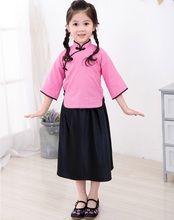Girls T-Shirt Jumper Skirts Clothes Suits Fashion Children School Clothing Sets Chinese Style Costumes 100% Cotton
