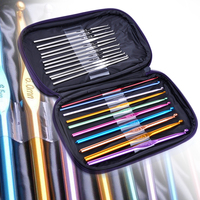 Needles 22 Pcs Set Crochet Hooks Multi Color Stainless Steel Sewing Knitting Needles Tool With Case