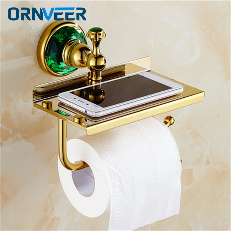 Free Shipping/Luxury green crystal brass gold paper box roll holder toilet gold paper holder Bathroom Accessories bath hardware цена