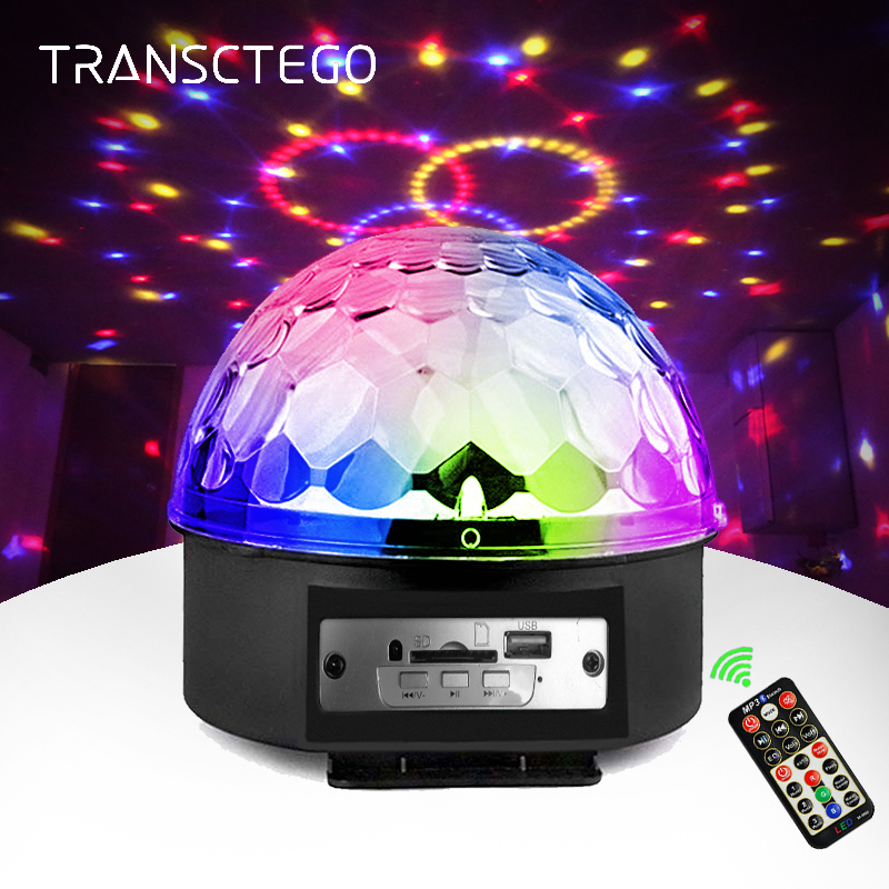 MP3 Stage Lights Disco Ball With Speaker Light LED Laser Projector Spotlight Sound Activated Disco DJ Music Player Party Light диск mp3 disco hits