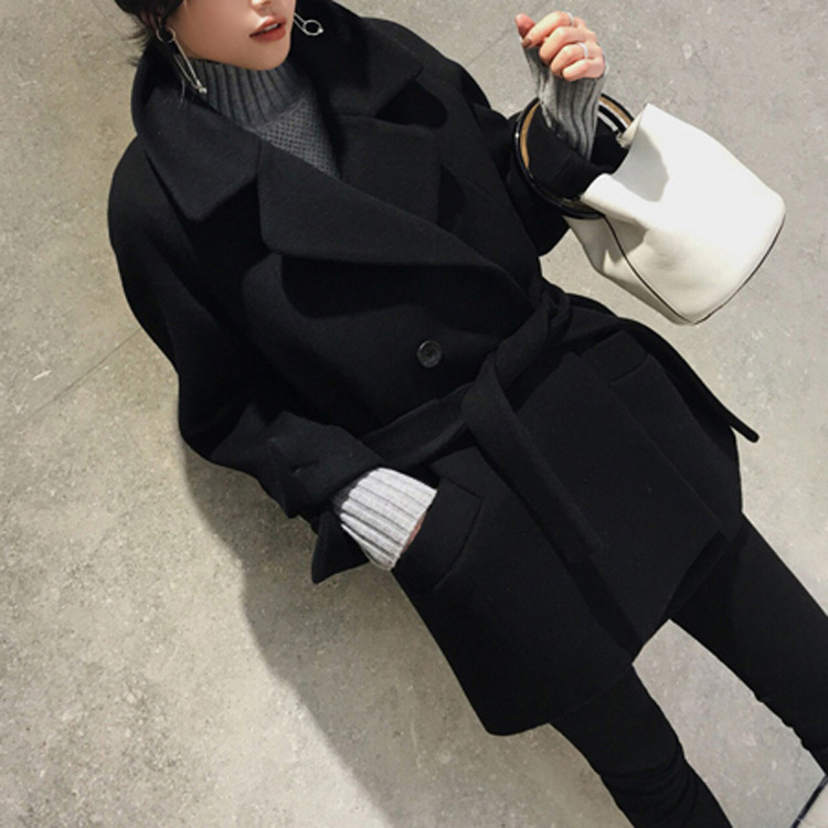 wool coat women's long coat winter Wool Blends coat 2017 runway fashion black thick warm wool coat outfit high quality