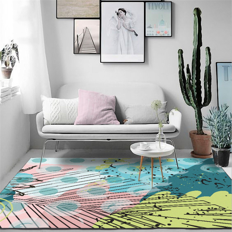 Us 12 31 22 Off Aovoll Fashion Cartoon Sweet Watercolor Fresh Light Green Yellow Pink Leaves Circle Door Mat Bedroom Rugs Mechanical Wash In Carpet