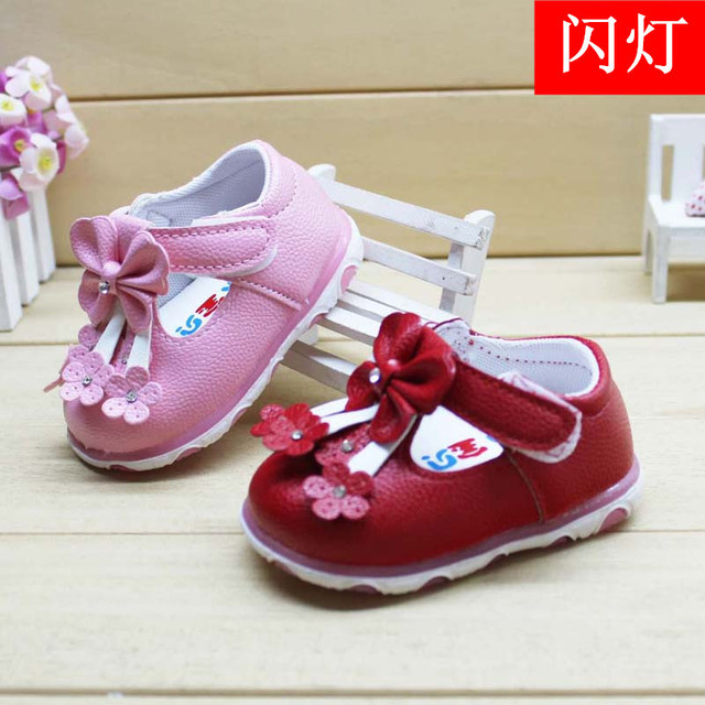 2016 Cute Flower Leather Shoes Girls PU Leather for Baby Austrian Diamond Solid Color Baby Shoes Flashing Shoes Factory Outlets