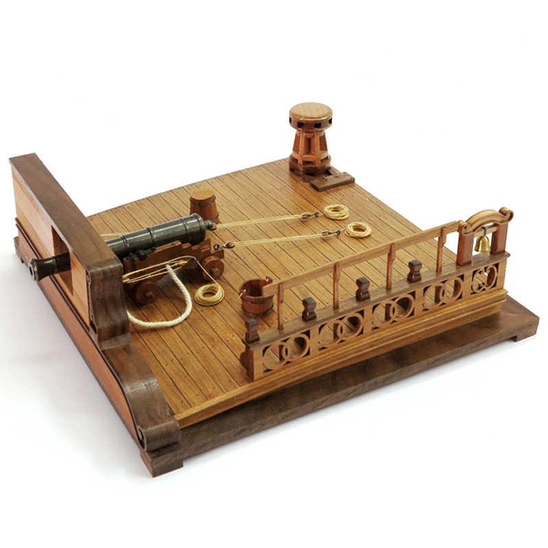 """ערכות מודלים 3d עץ רכבת לחתוך לייזר תחביב עתיק מודל £ 8 תותח Scenescale סיפון קרב דגם 1/26 גודל 220*220*69 מ""""מ"""