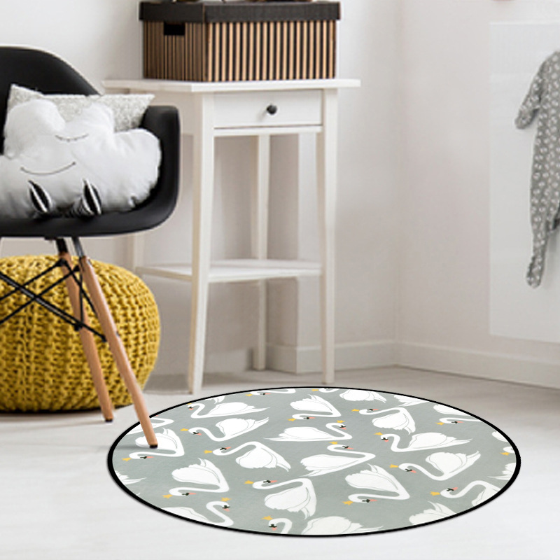 Cartoon Swan Rabbit Print Round Rugs Children Play Mat Home Decor Thick Soft Carpets Anti-Slip Floor Mat for Bedroom Kids Room