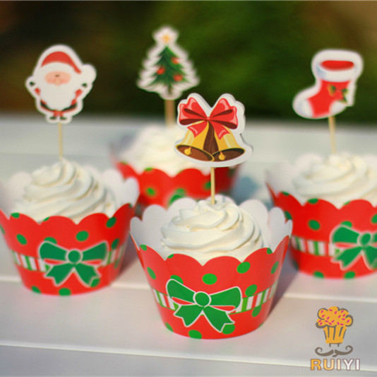 Pcs christmas cupcake wrappers toppers picks santa claus