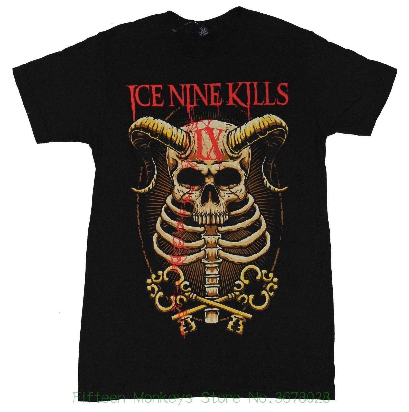 Men And Woman T Shirt Free Shipping Ice Nine Kills Mens T-shirt - Horned Skull Ribcage Ix Key Image