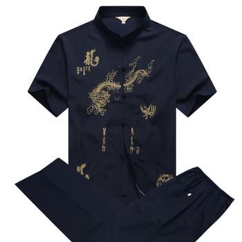 Casual Mandarin Collar Short Sleeve Shirt&Pant For Men Oriental Male Dragon Tang Suit Chinese Traditional Kung Fu Clothing casual drawstring mandarin collar t shirt
