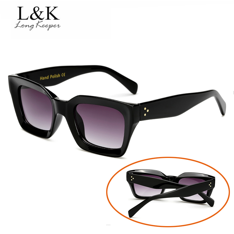 Long Keeper Fashion Women Sunglasses Square Sun Glasses Female Mirror Lense Summer Style Vintage Big Black Frame Eyewear UV400