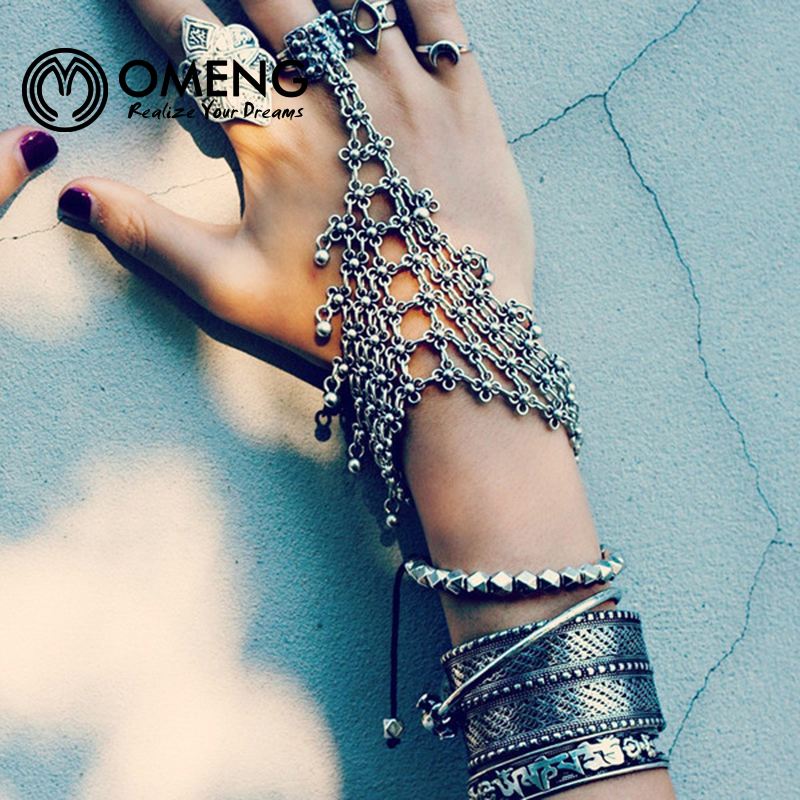 OMENG Punk Rock Turkish Silver Antalya Power Bracelet Gypsy Beachy Chic Coachella Silver Personality Ethic TribalOSL039