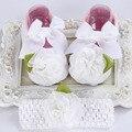 Bautizo bautismo del bebé recién nacido diadema set, niño andador de bebé de la marca, botines zapatos para niñas