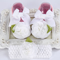 Christening baptism newborn baby girl shoes headband set,toddler baby shoes branded walker,booties shoes for girls