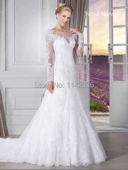 elegante blanca una línea de vestidos de boda 20016 de encaje manga