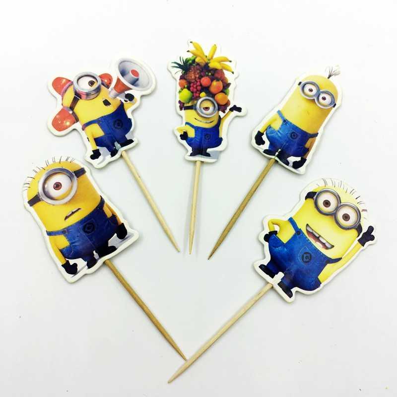 24 piezas dibujos animados Minions cupcakes Toppers Baby Shower niños cumpleaños boda decoración fiesta suministros pastel bandera Despicable Me Banana