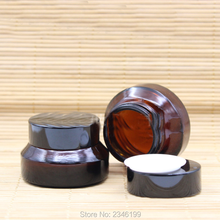 15G 15ML Dark Brown Color Glass Jar, Black Lid With Inner Lid Eye Powder Jar, Brown Cosmetics Packing Cream Jar, 30pcs/lot