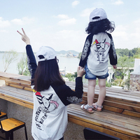 Family Matching T Shirts 2017 Mom Son Outfits Mother and Daughter Clothes Cartoon Long Sleeved Shirts Clothing Mama Baby Sets