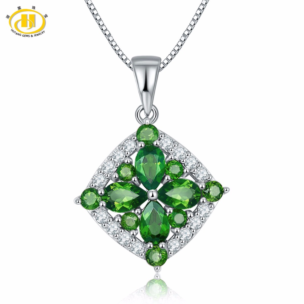 Hutang 2.59Ct Natural Chrome Diopside Topaz Gemstone Pendant Solid 925 Sterling Silver Necklace Fine HuTang Jewelry все цены