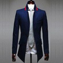 Мода 2017 Весна Осень воротник Британский классическая Длинные Стиль Шерстяная ткань мужчины джентльмен блейзер проектирует masculino homme